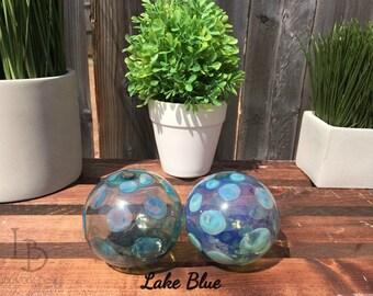 Hand Blown Glass Christmas Ornament Garden Sun Catcher-Lake Blue Bubbles