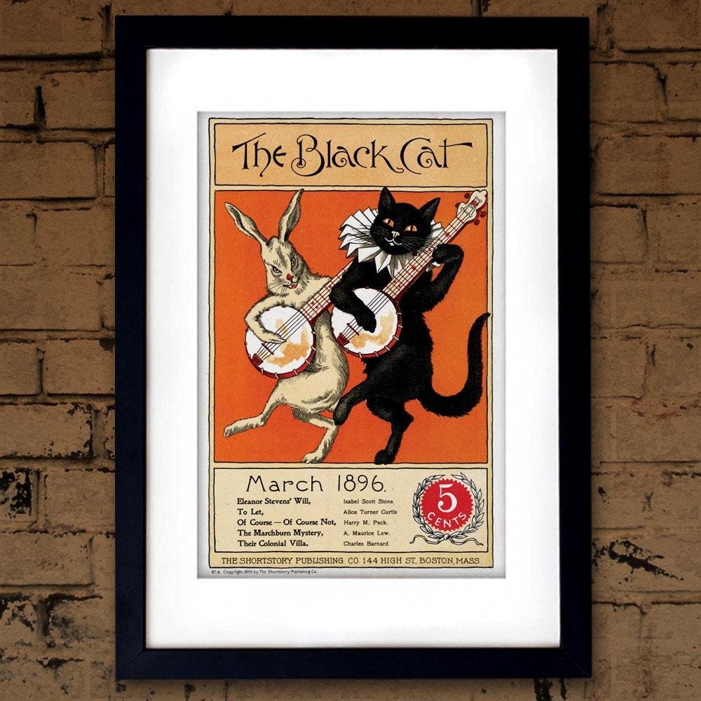Cartel Vintage cuento El gato negro anuncio