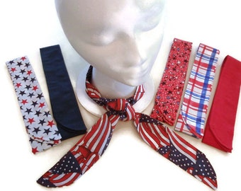 Gel Neck Cooler, Cooling Neck Wrap, 4th of July, Neck Cooling Bandana Scarf, Red White and Blue, Patriotic Flag, Gift For Men and Women