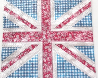 20 NAPKINS in paper - flag UK UNION JACK gingham and flowers art 3396