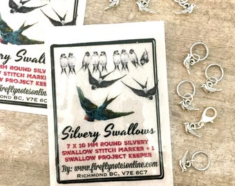 Bird stitch markers, 10 mm snag free sparrows, one removable