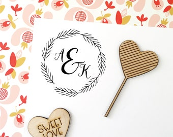 Wedding Monogram Stamp, Monogram Wreath Stamp, Initial Stamp, Wedding Favor Stamp, Save the Date Stamp, Laurel Wedding Stamp, No. 75W