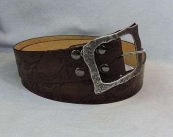 Customizable 2.25 inch, Leaf Silhouette Design Leather Pirate, or Kilt Belt