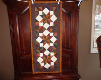 Brown Patchwork runner, Country table runner, 0331-01