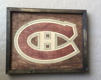 Montreal Canadiens Wooden Inlay Wall Art
