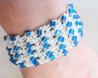 Handmade Crocheted Hemp Bracelet with Blue Beads By Distinctly Daisy
