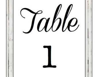 Rustic Wedding Table Numbers Printable Digital Download