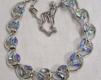 Vtg Jewelry Signed Coro Necklace Blue Aurora Navettes Silvertone Links