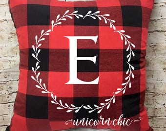 Personalized Buffalo Plaid Pillow Cover, Throw Pillow, Christmas Decor, Holiday Gift