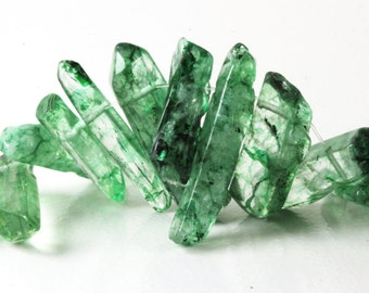 Transparent Green Quartz Points Dagger Shape Green Crystal Points Polished Stick Beads 5 Quartz Points Gems Mixed Sizes 19mm-28mm, Loose KJ