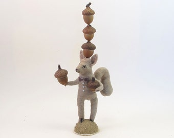 Spun Cotton Vintage Style Woodland Circus Nut Balancing Squirrel Figure (MADE TO ORDER)