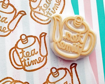 tea pot rubber stamp | tea time stamp | birthday christmas scrapbooking | diy afternoon tea | tea lovers | hand carved by talktothesun