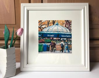 Union Square New York Art NYC Square Framed 12x12 inch Wall Decor Print New York Cityscape  Painting by Gwen Meyerson