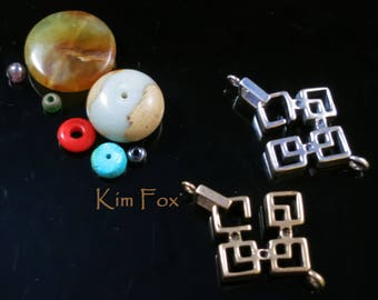 Rectangular Slot Clasp in Oriental Style in Sterling Silver or Golden Bronze by Kim Fox suitable for bracelet or necklace