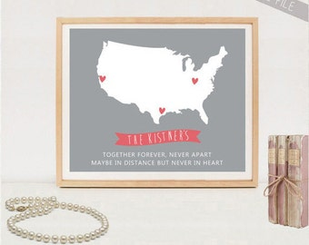 Long distance family map printable - Personalized Long Distance Maps poster - DIGITAL FILE!