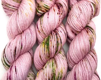 """Hand Dyed Yarn """"Floramour"""" Purple Green Brown Pink Yellow Speckled Merino Cashmere Silk Sportweight Yarn SW 300yds"""