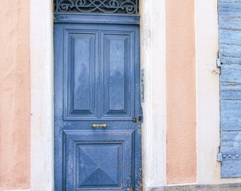 French doors doors of France Loire Valley blue door pink walls French country door fine art photography large wall art home decor : coutry door - pezcame.com