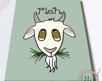 Goat Canvas Print, 'Meh...', 20x30cm/30x40cm Wood Frame Wall Art