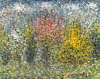 Fine Art Giclee Print: Dogwood, Quince, and Forsythia in Spring, 2017