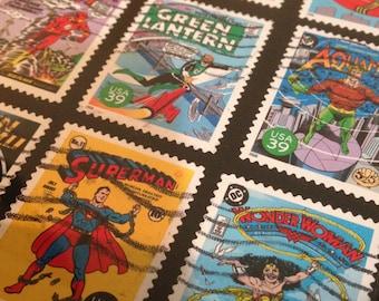 "DC Comics - Recycled Postage Stamp Framed Art 4""x6"", 4x6,Superman, wonderwoman, stamp collector, green lantern,"