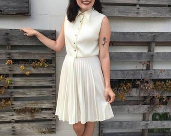 Adorable Cream 1960s Pleated Shirt Dress