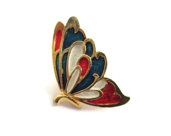 Red White and Blue Enamel Butterfly Patriotic Scatter Pin