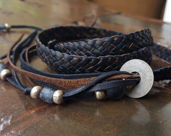 ZUNA Braided Leather Wrap Bracelet w/ African Glass Bone Silver Brass Beads, Men's Women's Woven Leather Cuff Bracelet, Tribal Gypsy Jewelry