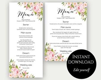 Menu Template, Wedding Menu, Menu Cards, Editable Menu, Menu Card Template, Floral Menu, Party Menu, Shower Menu, Instant Download, Menu
