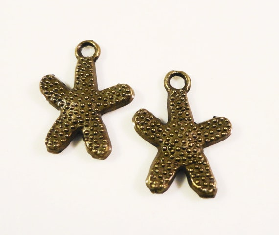Bronze Starfish Charms 17x12mm Dark Bronze Antique Brass Tone Metal Small Star Fish Sea Nautical Charm Pendant Jewelry Findings 10pcs