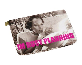 "Dorothy Dandridge Large ""Im Busy Planning"" Zippered Pouch - planner stuff carrier, laptop case, ipad cover"