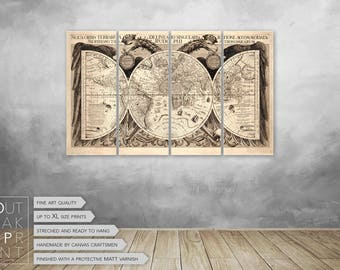 Vintage world map Canvas Art Print Ready to Hang -  LARGE wall art for home on 4 panels, 025