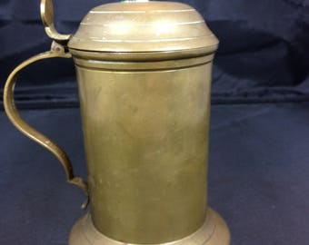 Vintage Solid Brass Stein With Duck Hinged Lid