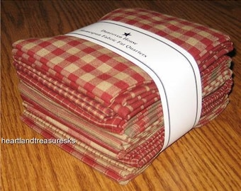 Dunroven House 12 Red Primitive Style Homespun Fabric Fat Quarter Bundle