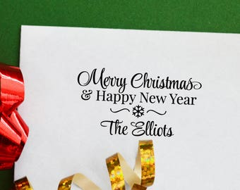 Merry Christmas Happy New Year Personalized Stamp with Your Names, Holiday Stamp