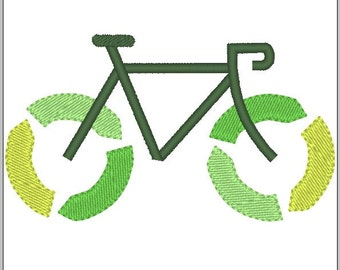 Recycle Bicycle Green Embroidery design pattern 4 inches - INSTANT Download