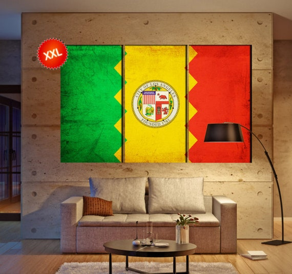 "LARGE 3 panels / boards wrapped stretched City Los Angeles L.A. ""City of Angels"" canvas wall art Giclee Art wall  art Repro"