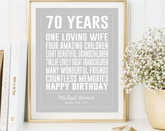 70th Birthday gift Print, Personalized Birthday sign, 70 Years Old Printable Poster Birthday Gift Present for him her, DIGITAL FILES 5