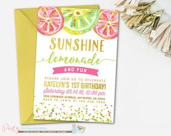 Lemonade Invitation, Lemonade Birthday Invitation, Lemonade Birthday Party, Lemonade Party, Summer Birthday Invitation, Lemonade Invite