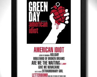 GREEN DAY Album Limited Edition Unframed A4 Art Print Mini Poster with Song Titles