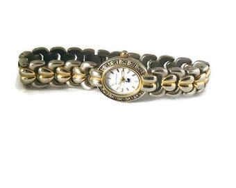 Vintage Gloria Vanderbilt Silver and Gold Tone Womens Watch