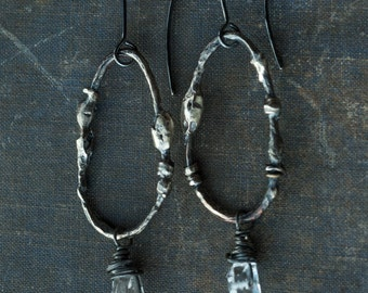 rustic primitive organic oval dangle earrings in copper and silver with herkimer diamonds, scuptural earrings