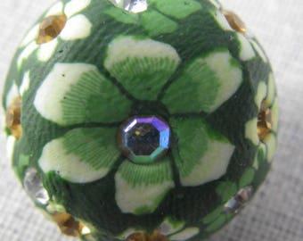 Bouton pression fleurs vertes