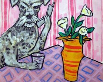 schnauzer, TILE, dog, dog art, art, schnauzer tile, gift, modern folk art, schnauzer art