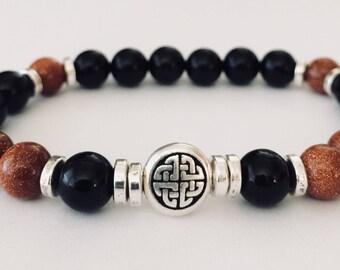 Mens Bracelet, Celtic Knot, Onyx, Goldstone, Beaded Bracelet, Celtic Bracelet, Celtic Jewelry, Irish Bracelet, Irish Jewelry, Men's Jewelry
