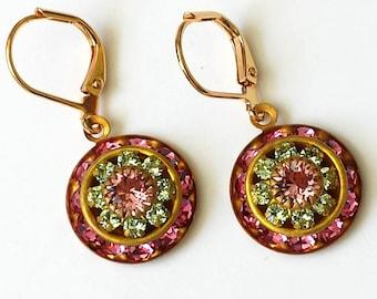 Rose Crystal Earrings Swarovski Pink Rhinestone Earrings Pink Gold Drop Earrings Rose Crystal Earrings Art Deco Earrings Rhinestone Earrings