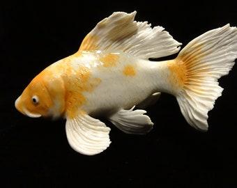 ceramic golden  butterfly koi fish, Handmade original porcelain carp