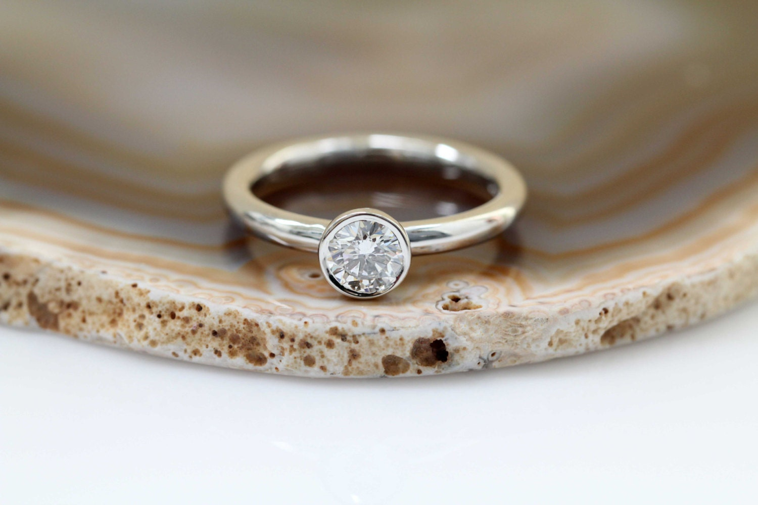 stone rings white bezel gold set in diamond three ring