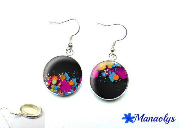 Multicolor painted glass 1991 cabochons earrings