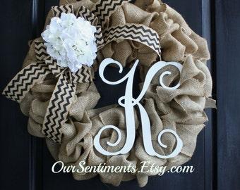 Spring Burlap Chevron Wreaths Hydrangeas Burlap Wreath - Wreaths - Wreath for door - Summer Wreath  - Mothers day Gift - burlap wreaths