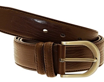 Men's Quality Brown Leather Belt In Gift Box (Style No.21).
